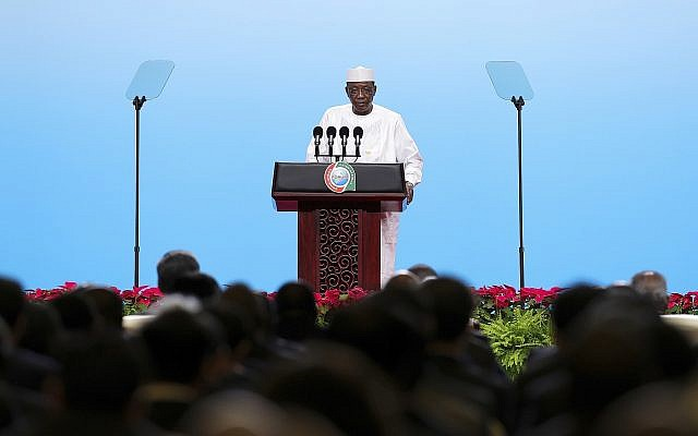 Le président du Tchad Idriss Deby lors d'une conférence à Beijing en septembre 2018 (Crédit : Lintao Zhang / Pool via AP)