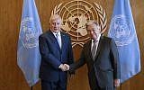 Le Premier ministre Benjamin Netanyahu (à gauche) rencontre le Secrétaire général des Nations Unies Antonio Guterres en marge de la 73e session de l'Assemblée générale des Nations Unies, au siège des Nations Unies, le 27 septembre 2018. (AP Photo/ Jason DeCrow)