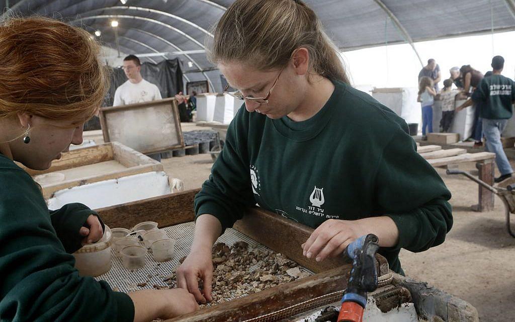 Des bénévoles et des employés fouillent les matériaux trouvés dans le cadre du projet de tamisage du Mont du Temple à Emek Tzurim, situé sur le Mont des Oliviers, près de la Vieille Ville de Jérusalem, le 10 mars 2014. (Miriam Alster/Flash90)