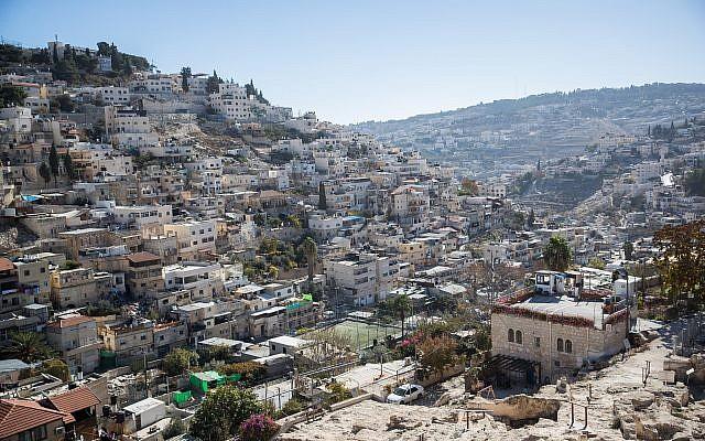 Vue du quartier de Silwan, à Jérusalem Est, le 3 décembre 2017. (Yonatan Sindel/Flash90)