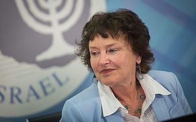 La gouverneure de la Banque d'Israël, Karnit Flug, lors d'une conférence de presse à Jérusalem le 28 mars 2018. (Hadas Parush / Flash90)