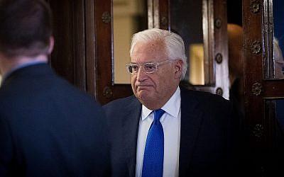 L'ambassadeur des États-Unis en Israël David Friedman à Jérusalem le 22 août 2018 (Yonatan Sindel/Flash90)