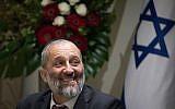 Le ministre de l'Intérieur, Aryeh Deri, assiste à une cérémonie de prestation de serment pour le Conseil rabbinique à la résidence du Président à Jérusalem, le 24 octobre 2018. (Yonatan Sindel/Flash90)