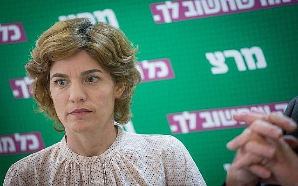 La présidente du Meretz, Tamar Zandberg, dirige une réunion de faction à la Knesset le 12 novembre 2018. (Crédit : Miriam Alster / Flash90)