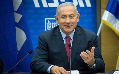 Le Premier ministre Benjamin Netanyahu dirige une réunion de la faction du Likud au Parlement israélien le 26 novembre 2018. (Miriam Alster/Flash90)