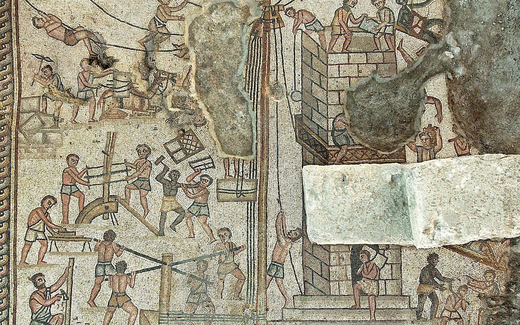 Une mosaïque représentant la tour de Babylone, dans la synagogue de Huqoq. (Crédit :Jim Haberman)