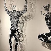 Les figurines coupées au laser de Michal Bachar qui créent des ombres en noir et blanc lors de la Semaine de l'Illustration 2018 (Crédit : Jessica Steinberg/Times of Israel)