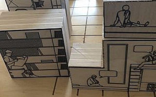 Des blocs d'usage de pièces créés par des architectes à Jaffa à l'occasion de la Maison de l'Illustration 2018 (Crédit : Jessica Steinberg/Times of Israel)