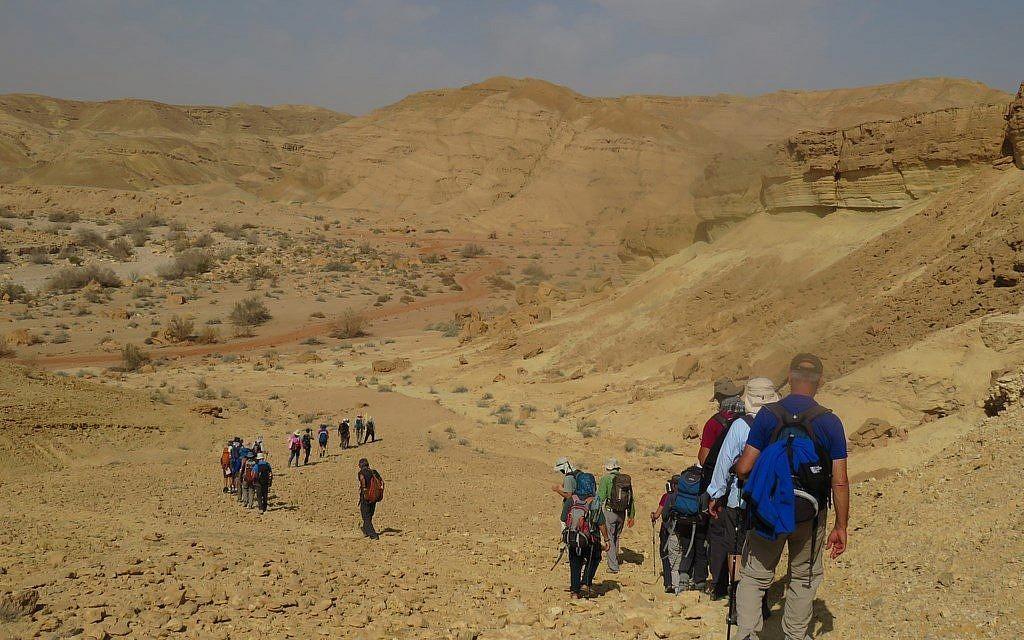 Une partie de la quarantaine d'Israéliens qui ont fait une randonnée de Petra à Avdat le long de l'ancienne route des épices nabatéenne, février 2018. (Crédit : autorisation)