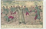 Carte postale patriotique représentant la mort du rabbin Abraham Bloch, aumônier des armées (domaine publique)
