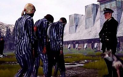 Les prisonniers d'Auschwitz sont conduits aux chambres à gaz dans le jeu vidéo 'Cost of Freedom'. (Crédit : capture d'écran  YouTube)