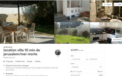 Une annonce Airbnb pour une maison à Maaleh Adumim, une ville de peuplement de Cisjordanie en banlieue de Jérusalem, telle que publiée sur le site Airbnb le 19 novembre 2018 au soir (Capture d'écran Airbnb)