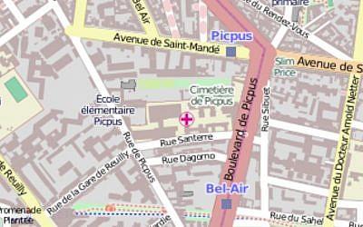 Situation géographique de l'hôpital Rothschild dans le 12e arrondissement de Paris (Capture d'écran OpenStreetMap/Wikimedia Commons)