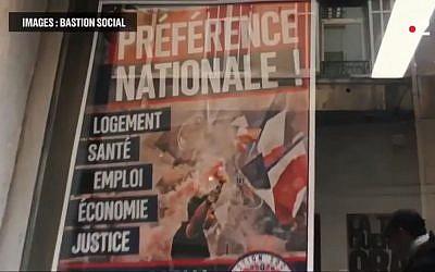 """Affiche du Bastion social portant le slogan """"Préférence nationale"""" (Crédit: capture d'écran France 2/Gizor/Youtube)"""