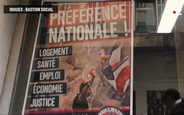"Affiche du Bastion social portant le slogan ""Préférence nationale"" (Crédit : capture d'écran France 2/Gizor/Youtube)"