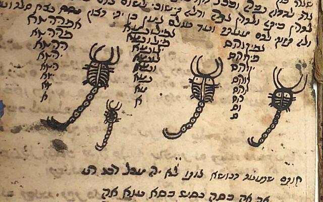 """""""L'écriture d'ange"""" et comment se débarrasser des scorpions dans un livre de sortilèges présents dans la valise noire mystérieuse qui avait été offerte au docteur Max Brodny à Moscou, en 1959 (Crédit : Amanda Borschel-Dan/Times of Israel)"""