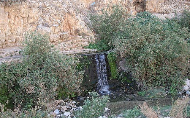Une cascade à la source Ein Fawwar dans le désert de Judée (Crédit :  Shmuel Bar-Am)