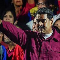 Le président vénézuélien Nicolas Maduro le jour des élections au Venezuela, le 20 mai 2018 (Crédit : AFP Photo/Juan Barreto)