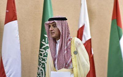 Le ministre des Affaires étrangères saoudien Adel al-Jubeir pendant le Conseil de coopération du Golfe, à Riyad, le 9 décembre 2018. (Crédit : AFP)
