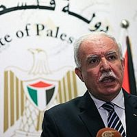Le ministre des Affaires étrangères de l'Autorité palestinienne, Riyad al-Maliki, lors d'une conférence de presse le 10 octobre 2014. (Ala Mufarja / Wafa)