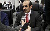 Le ministre qatari de l'Energie Saad Sherida Al-Kaabi le 6 décembre, 2018. (Crédit : AP/Ronald Zak)