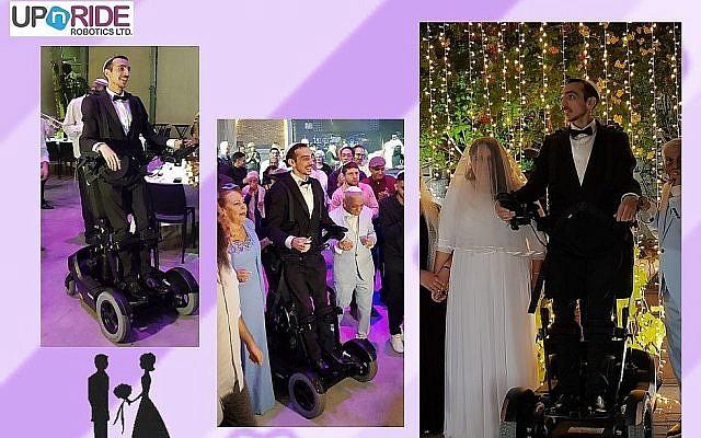 Adir Simantov, un soldat israélien victime d'un accident de voiture qui l'a laissé paralysé,épouse Liat. C'est grâce à un dispositificonçu par UPnRIDE qu'il se tient debout le jour de son mariage. (Crédit : UPnRIDE)