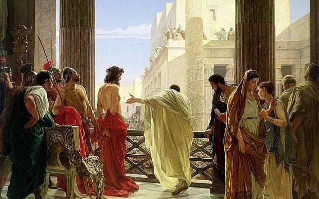 Ponce Pilate présente Jésus, dans un tableau d' Antonio Ciseri de 1871. (Crédit : Wikipedia)