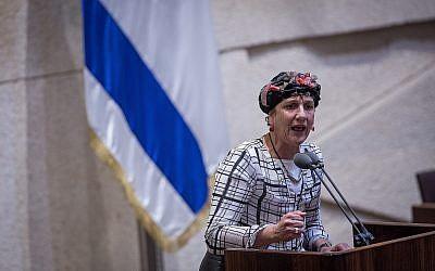 Jewish Home MK Shuli Moalem-Refaeli, du parti HaBayit HeYehudi lors d'une session plénière de la Knesset, le 26 juillet 2017 (Crédit : Hadas Parush/Flash90)