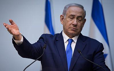 Le Premier ministre Benjamin Netanyahu fait une déclaration à la presse à la Knesset à Jérusalem le 19 décembre 2018. (Hadas Parush/Flash90)