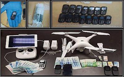 AUne photo diffusée par l'agence de sécurité du Shin Bet, lmontre des téléphones, un drone et de l'argent qui seraient liés à une tentative avortée de trafic de téléphones dans une prison sécuritaire, le 6 décembre 2018 (Crédit : Shin Bet)