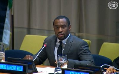 Marc Lamont Hill prend la parole aux Nations Unies le 28 novembre 2018. (Capture d'écran : YouTube)