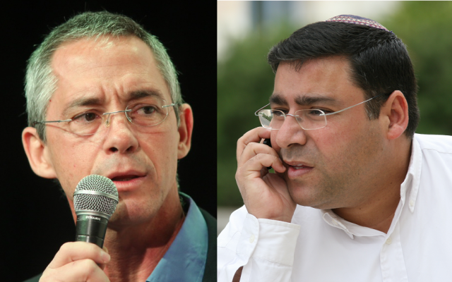 Gilad Sharon (à gauche), fils de l'ancien Premier ministre Ariel Sharon, et Lior Katsav, frère de l'ancien président Moshe Katsav. (Anna Kaplan/Flash90)