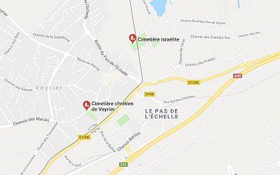 Localisation du cimetière israélite de Veyrier (Suisse), près de Genève (Crédit: capture d'écran Google Map)