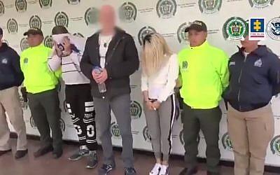 Des Israéliens soupçonnés d'être impliqués dans un réseau de trafic sexuel en Colombie. (Crédit : Twitter/procureur général de Colombie)