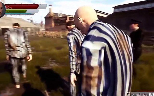 """Capture d'écran du """"Cost of freedom"""" dans lequel le joueur peut incarner un Nazi ou un  prisonnier juif (Crédit: AliensGame)"""