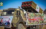 Des roquettes sur un camion pendant une parade du Hamas dans la ville de Khan Younès, dans le sud de la bande de Gaza, le 15 décembre 2018 (Crédit : alqassam.net)