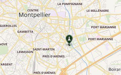 Emplacement de l'Hotel de Ville de Montpellier (Capture: capture d'écran Wikipedia Map)