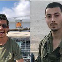 Une photo montage montre le sergent Yosef Cohen (G) et le sergent d'état-major Yovel Mor Yosef de la Brigade Kfir de l'Armée israélienne. Les deux jeunes hommes ont été tués le 13 décembre 2018 lors d'un attentat terroriste à l'extérieur de l'avant-poste de Givat Assaf, dans le centre de la Cisjordanie. (Armée israélienne)