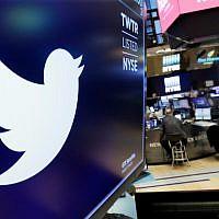 Le logo de Twitter est affiché au-dessus d'un comptoir commercial à la Bourse de New York, le 8 février 2018. (AP Photo/Richard Drew, Dossier)