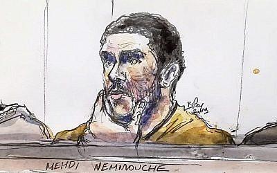 Un dessin du tribunal réalisé le 10 janvier 2019  montre Mehdi Nemmouche, accusé d'un attentat terroriste au musée juif de Bruxelles en 2014, pendant son procès au palais de justice de Bruxelles (Crédit :  (Benoit Peyrucq/AFP)