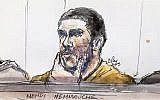 Croquis de Mehdi Nemmouche, jugé à Bruxelles pour la tuerie du Musée juif de Bruxelles, le 10 janvier 2019. (Crédit : Benoit Peyrucq/AFP)