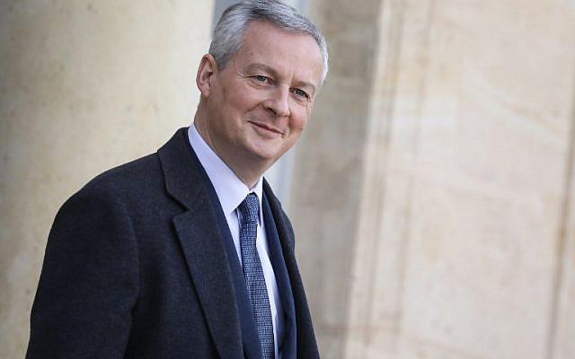Le ministre de l'Economie français Bruno Le Maire quitte le palais présidentiel après le conseil des ministres, le 16 janvier 2019 à Paris (Crédit :  LUDOVIC MARIN / AFP)