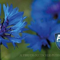 """Le logo du mouvement d'extrème-droite """"Réveil des Patriotes allemands' avec un bleuet. (Crédit : Facebook)"""