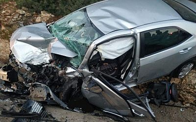 La scène d'un accident de voiture mortel dans le nord d'Israël, le 25 janvier 2019 (Services d'incendie et de sauvetage)