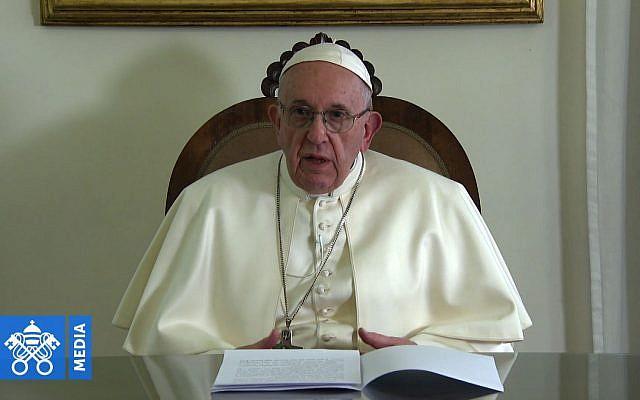 """Le pape François se dit heureux, dans une vidéo diffusée jeudi, """"d'écrire une nouvelle page dans l'histoire des relations entre les religions"""" en allant du 3 au 5 février aux Emirats arabes unis. (Crédit : AFPTV)"""