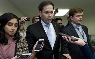 Le sénateur Marco Rubio, républicain de Floride, au capitole, le 21 décembre 2018 (Crédit : AP Photo/Jose Luis Magana)