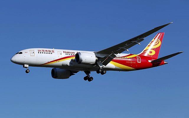 Un Boeing 787-8 Dreamliner de la compagnie chinoise Hainan Airlines. (Crédit : CC BY-SA 2.0)