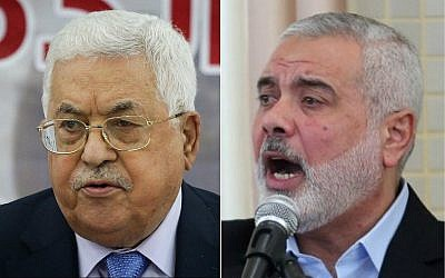 Le président de l'Autorité palestinienne Mahmoud Abbas (à gauche) et le dirigeant du Hamas Ismail Haniyeh (Crédit : Flash90, SAID KHATIB/AFP)