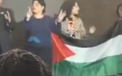 Des manifestants pro-Palestiniens lors de Creating Change, une conférence de la communauté LGBTQ à Détroit, le 24 janvier 2019. (Crédit : capture d'écran YouTube)