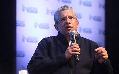 L'ancien chef de l'armée de l'air Amir Eshel lors de la conférence annuelle à l'Institute for National Security Studies (INSS) à Tel Aviv, le 28 janvier 2018. (Crédit :INSS)